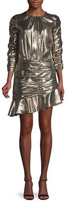 ML Monique Lhuillier Ruched Silk-Blend Mini Dress