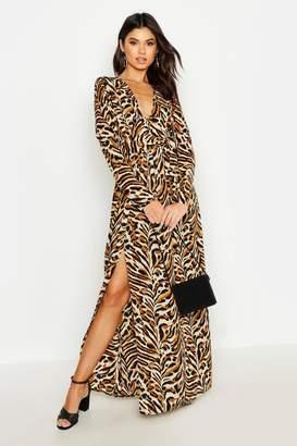 boohoo Button Front Tiger Print Thigh Split Maxi Dress