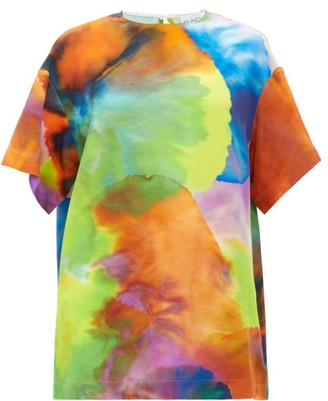 Raey Long-line Neon Tie-dye Print Silk Top - Multi