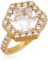 """Nicole Miller Artelier"""" Pave Hex Cocktail Burnished Gold/Clear Ring, Size 7"""