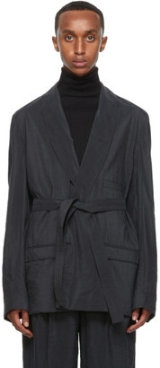Lemaire Grey Silk Double-Breasted Belted Blazer