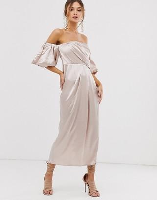 Asos Edition EDITION drape off shoulder midi dress in satin-Cream