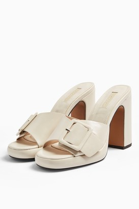 Topshop REFLECT Ecru Buckle Mules