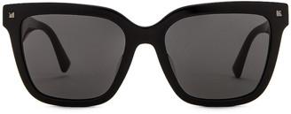 Valentino Acetate Logo Sunglasses in Black & White | FWRD