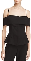 Theory Bertson Cold-Shoulder Crepe Blouse