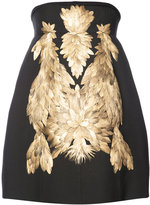 Vera Wang gold-tone appliqué structured dress