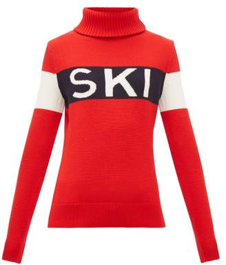 Perfect Moment Ski-intarsia Roll-neck Wool Sweater - Womens - Red