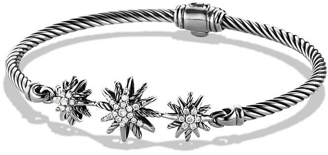 David Yurman Starburst Three-Station Cable Bracelet with Diamonds in Sterling Silver