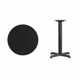 "Symple Stuff Lula Round Laminate Dining Table Color: Black, Size: 31.13"" H x 30"" L x 30"" W"