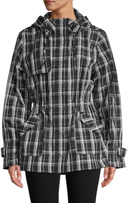 Calvin Klein Collection Plaid Hooded Trench Coat