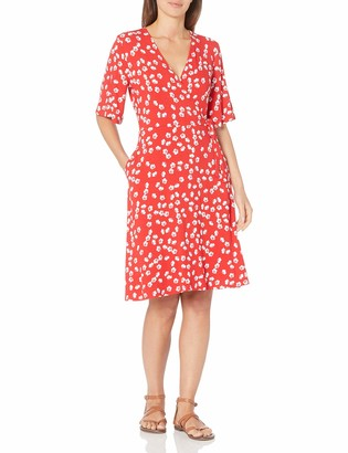 Amazon Essentials Women's Kimono Sleeve Faux Wrap Dress