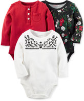 Carter's 3-Pk. Long-Sleeve Bodysuits, Baby Girls (0-24 months)