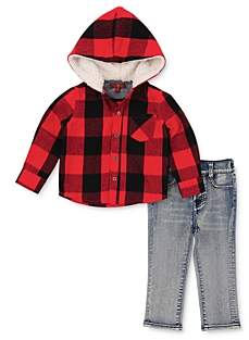 7 For All Mankind Boys' Plaid Hooded Shirt & Jeans Set - Little Kid