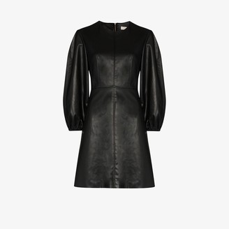 Tibi Puff Sleeve Faux Leather Dress