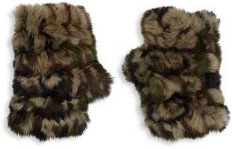 Jocelyn Camo Rabbit Fur Fingerless Mittens