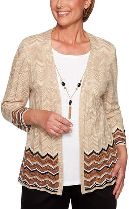 Alfred Dunner Women's Open Cardigans OATMEAL - Tan Chevron Necklace-Accent Layered Sweater - Women