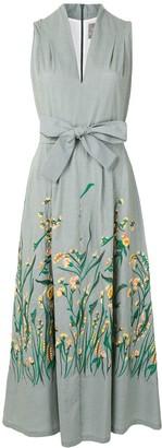 Lela Rose Floral Print Midi Dress