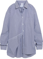 Vetements Comme Des Garçons Packshot Oversized Striped Cotton-poplin Shirt - Navy