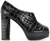 Pollini crocodile embossed peep toe pumps