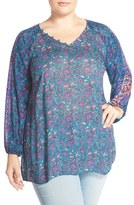 Lucky Brand Plus Size Women's 'Roadmap' Print Blouse