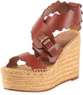 Chloé Lauren Scalloped Leather Wedge Espadrilles