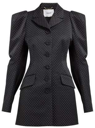 Erdem Alfreda Polka Dot-jacquard Cotton-blend Blazer - Womens - Black White