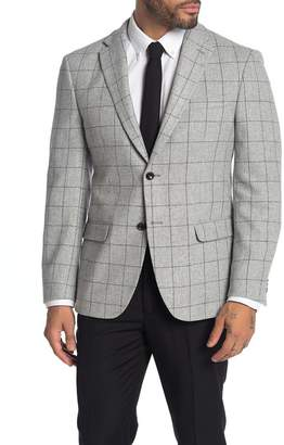 Tommy Hilfiger Light Grey Grid Two Button Notch Lapel Sport Coat