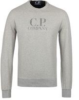 Cp Company Light Grey Printed Crew Neck Sweatshirt