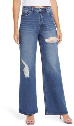 Prosperity Denim Ripped High Waist Wide Leg Jeans
