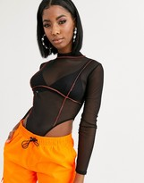 Public Desire long sleeve high neck body with contrast overlocking in mesh
