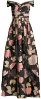 Aidan Mattox Off-The-Shoulder Floral Ball Gown