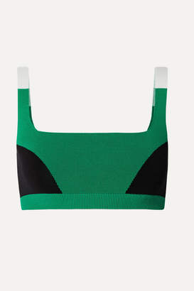 Nagnata - Net Sustain Color-block Technical Stretch-organic Cotton Sports Bra - Green