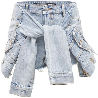 Alexander Wang Cotton Blend Denim Shorts W/Tied Front