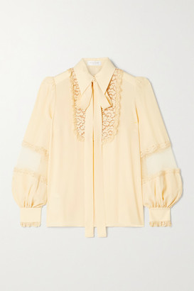 Michael Kors Collection Corded Lace And Point D'esprit-trimmed Silk-crepe Blouse - Cream