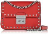 Michael Kors Sloan Editor Medium Bright Red Leather Chain Shoulder Bag w/Studs