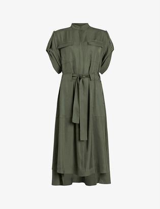 AllSaints Luciana satin utility midi dress