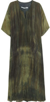 Raquel Allegra Tie-dyed Silk-charmeuse Dress - Army green