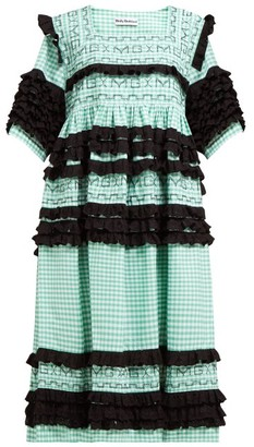 Molly Goddard Elodie Ruffled Gingham-cotton Midi Dress - Green