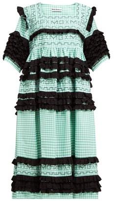 Molly Goddard Elodie Ruffled Gingham-cotton Midi Dress - Green