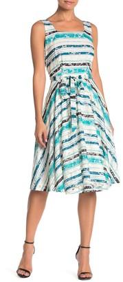 Gabby Skye Striped Sleeveless Lace Fit & Flare Dress