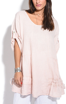 Pink Roll-Tab Sleeve Linen Top