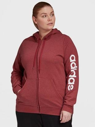 adidas Full Zip Hoodie - Plus Size - Burgundy