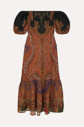 Etro Off-the-shoulder Printed Wool And Silk-blend Maxi Dress - Brick
