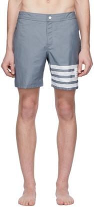 Thom Browne Grey Snap Front 4-Bar Swim Shorts