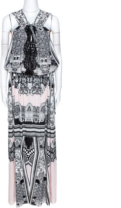Roberto Cavalli Multicolor Printed Jersey Cutwork Neckline Detail Maxi Dress M