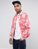 Asos Coach Jacket In Washed Pink Camo Print