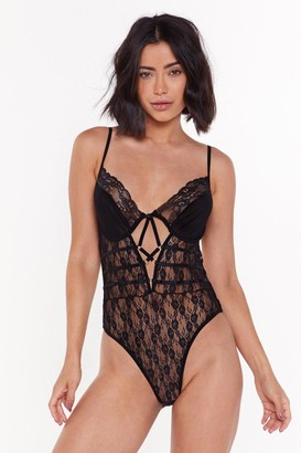 Nasty Gal Womens You Can Look Lace Strappy Bodysuit - black - 32B