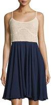 Neiman Marcus Sleeveless Crochet & Gauze Fit-and-Flare Dress, Marine
