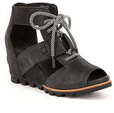 Sorel Joanie Leather Banded Lace Up Wedge Sandals