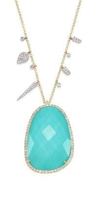 Meira T Diamond, Turquoise Doublet & 14K Yellow Gold Pendant Necklace